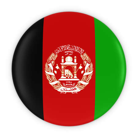 afghan: Afghan Flag Button - Flag of Afghanistan Badge 3D Illustration