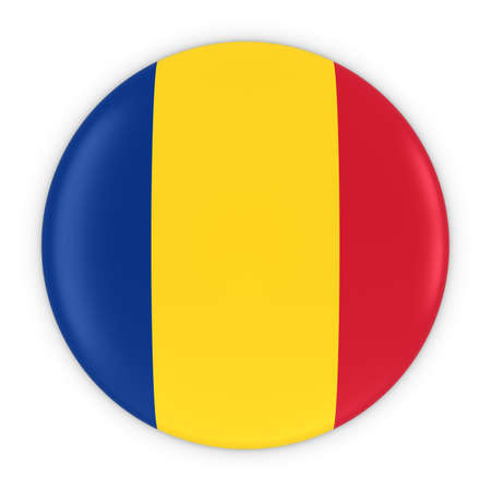 romanian: Romanian Flag Button - Flag of Romania Badge 3D Illustration Stock Photo