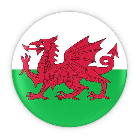welsh: Welsh Flag Button - Flag of Wales Badge 3D Illustration Stock Photo