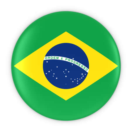 brazilian flag: Brazilian Flag Button - Flag of Brazil Badge 3D Illustration