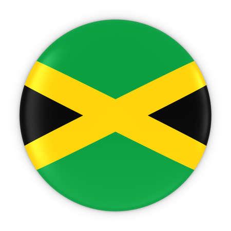 jamaican flag: Jamaican Flag Button - Flag of Jamaica Badge 3D Illustration
