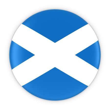 scottish flag: Scottish Flag Button - Flag of Scotland Badge 3D Illustration Archivio Fotografico
