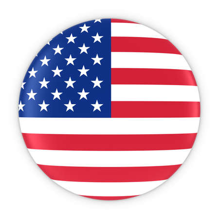 American Flag Button - Flag of America Badge 3D Illustration