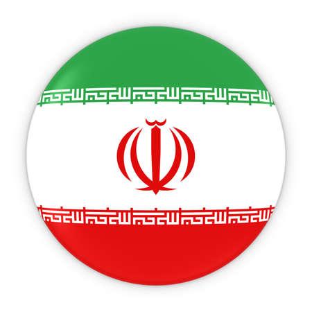 iranian: Iranian Flag Button - Flag of Iran Badge 3D Illustration Stock Photo