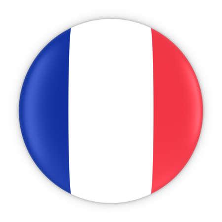 french flag: French Flag Button - Flag of France Badge 3D Illustration