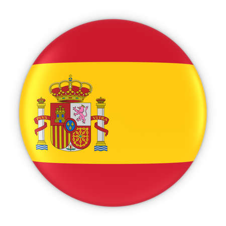 spanish flag: Spanish Flag Button - Flag of Spain Badge 3D Illustration