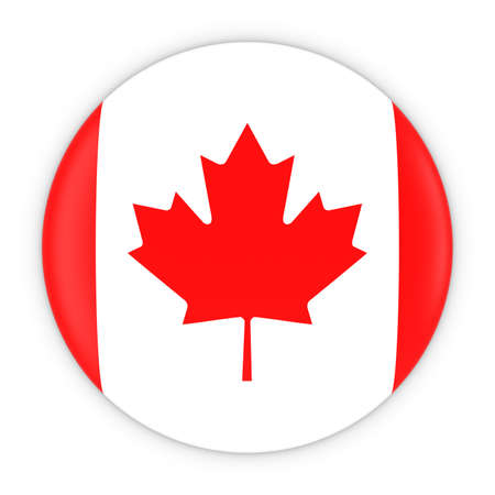 canadian flag: Canadian Flag Button - Flag of Canada Badge 3D Illustration