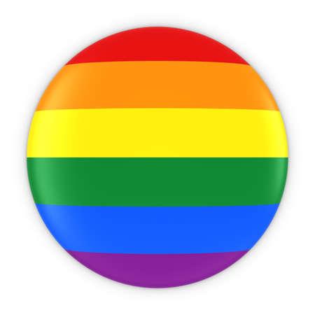 gay pride flag: Gay Pride Flag Button - Rainbow Flag Badge 3D Illustration