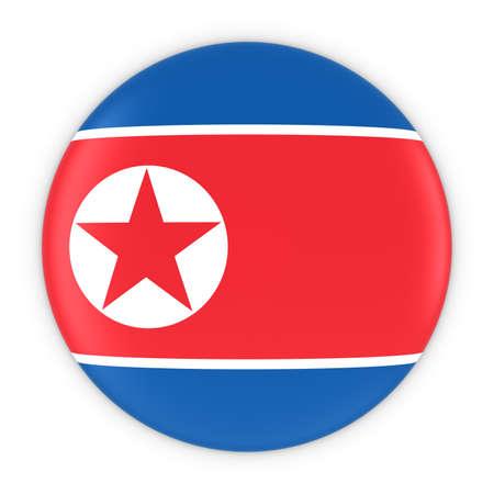 korean national: North Korean Flag Button - Flag of North Korea Badge 3D Illustration Stock Photo