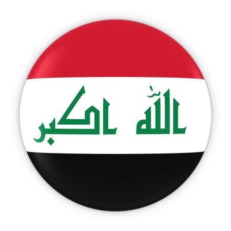 iraqi: Iraqi Flag Button - Flag of Iraq Badge 3D Illustration