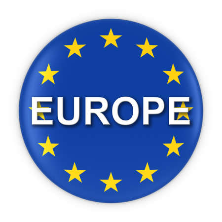 text 3d: Europe Flag Button with Europe Text 3D Illustration