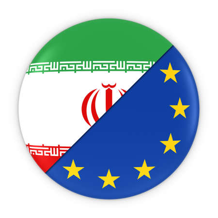 iranian: Iranian and European Relations - Badge Flag of Iran and Europe 3D Illustration