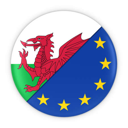 welsh: Welsh and European Relations - Badge Flag of Wales and Europe 3D Illustration