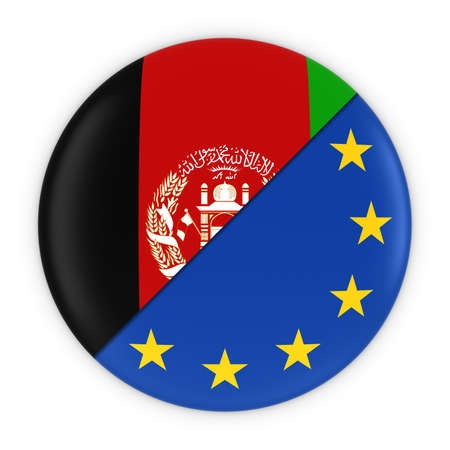 afghan: Afghan and European Relations - Badge Flag of Afghanistan and Europe 3D Illustration