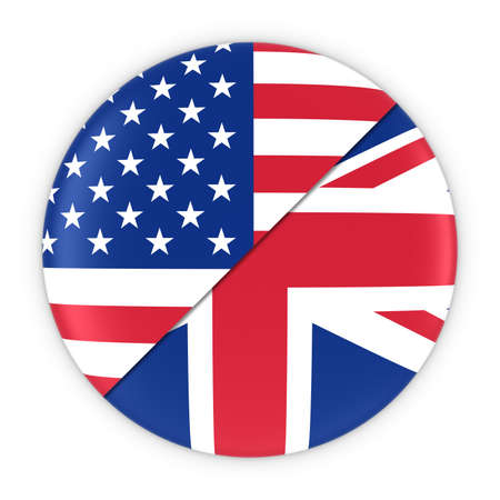 US and UK Relations - Badge Flag of USA and United Kingdom 3D Illustration
