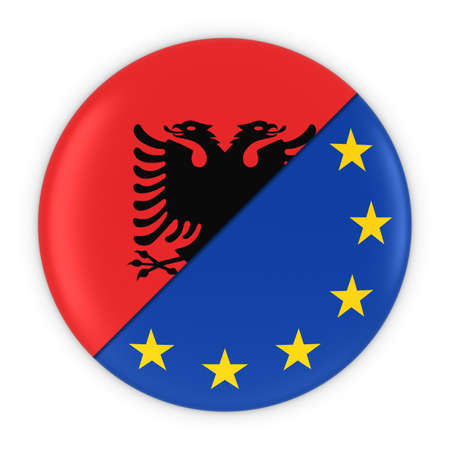 albanian: Albanian and European Relations - Badge Flag of Albania and Europe 3D Illustration