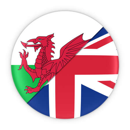 welsh: Welsh and British Relations - Badge Flag of Wales and Britain 3D Illustration