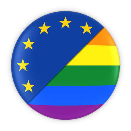 gay pride rainbow: Gay Pride in Europe - Rainbow Flag Badge and EU Flag 3D Illustration Stock Photo