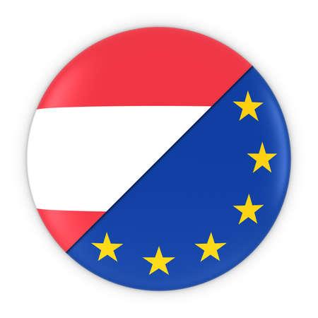 austrian: Austrian and European Relations - Badge Flag of Austria and Europe 3D Illustration