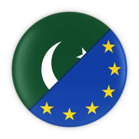 pakistani pakistan: Pakistani and European Relations - Badge Flag of Pakistan and Europe 3D Illustration