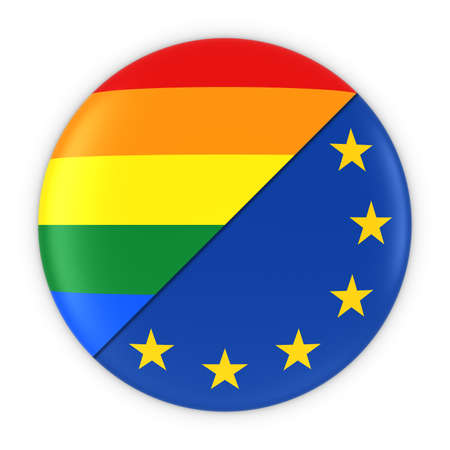 Gay Pride in Europe - Rainbow Flag Badge and EU Flag 3D Illustration Stok Fotoğraf