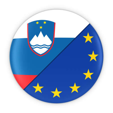 slovenian: Slovenian and European Relations - Badge Flag of Slovenia and Europe 3D Illustration Stock Photo