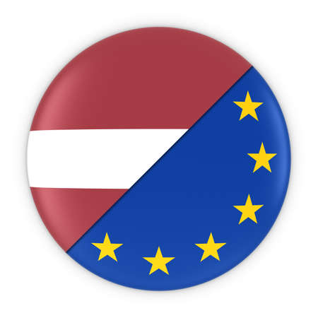 relations: Latvian and European Relations - Badge Flag of Latvia and Europe 3D Illustration Stock Photo
