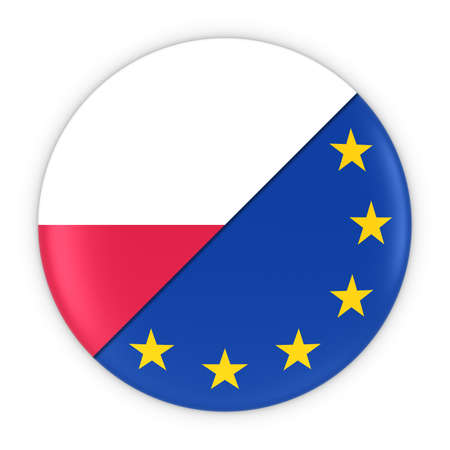 polish flag: Polish and European Relations - Badge Flag of Poland and Europe 3D Illustration Stock Photo