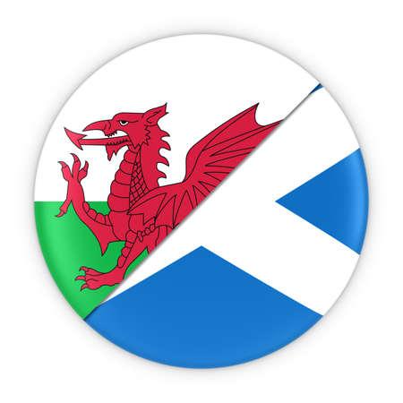scottish flag: Gallesi e scozzesi - Relazioni distintivo della bandierina del Galles e della Scozia Illustrazione 3D