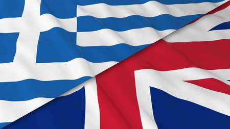 merged: Flags of Greece and the United Kingdom - Split Greek Flag and British Flag 3D Illustration Stock Photo