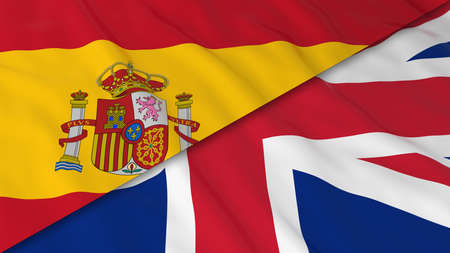spanish flag: Flags of Spain and the United Kingdom - Split Spanish Flag and British Flag 3D Illustration
