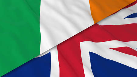 Flags of Ireland and the United Kingdom - Split Irish Flag and British Flag 3D Illustration Stok Fotoğraf