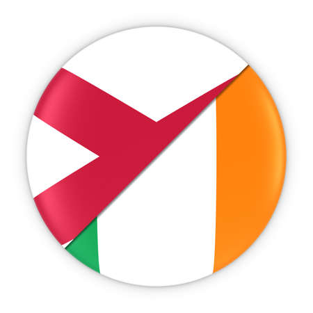 northern ireland: Northern Irish and Irish Relations - Badge Flag of Northern Ireland and Ireland 3D Illustration Stock Photo