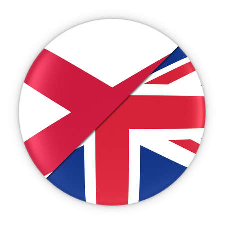 northern ireland: Northern Irish and British Relations - Badge Flag of Northern Ireland and Britain 3D Illustration