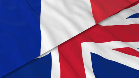 french flag: Flags of France and the United Kingdom - Split French Flag and British Flag 3D Illustration Stock Photo