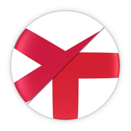 northern ireland: Northern Irish and English Relations - Badge Flag of Northern Ireland and England 3D Illustration Stock Photo
