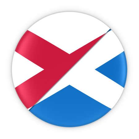 northern ireland: Northern Irish and Scottish Relations - Badge Flag of Northern Ireland and Scotland 3D Illustration Stock Photo