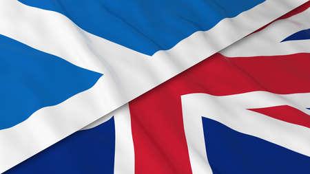 scottish flag: Bandiere della Scozia e del Regno Unito - Split bandiera scozzese e illustrazione bandiera britannica 3D