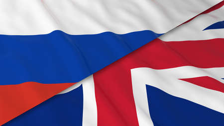 russian flag: Flags of Russia and the United Kingdom - Split Russian Flag and British Flag 3D Illustration