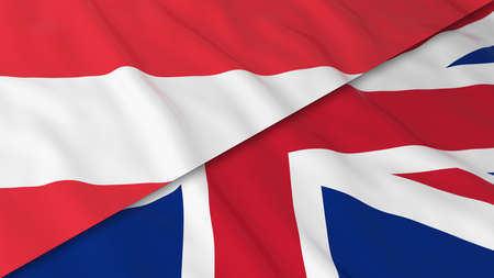 merged: Flags of Austria and the United Kingdom - Split Austrian Flag and British Flag 3D Illustration