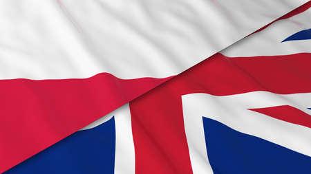 polish flag: Flags of Poland and the United Kingdom - Split Polish Flag and British Flag 3D Illustration