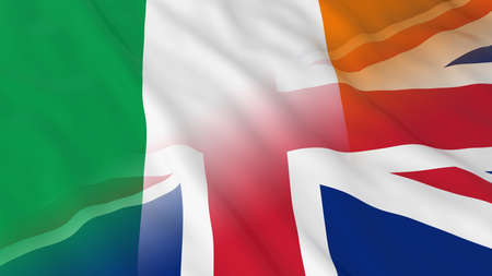 Irish and British Relations Concept - Merged Flags of Ireland and UK 3D Illustration Imagens - 58915561