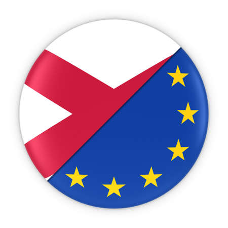 northern european: Northern Irish and European Relations - Badge Flag of Northern Ireland and Europe 3D Illustration Stock Photo