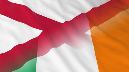 northern ireland: Northern Irish and Irish Relations Concept - Merged Flags of Northern Ireland and Ireland 3D Illustration