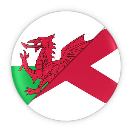 welsh flag: Welsh and Northern Irish Relations - Badge Flag of Wales and Northern Ireland 3D Illustration Stock Photo