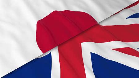 bandera japon: Banderas de Jap�n y el Reino Unido - Bandera japonesa de Split y la ilustraci�n de la bandera brit�nica 3D