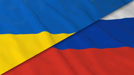 russian flag: Flags of Ukraine and Russia - Split Ukrainian Flag and Russian Flag 3D Illustration Stock Photo