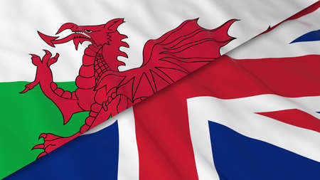 welsh flag: Flags of Wales and the United Kingdom - Split Welsh Flag and British Flag 3D Illustration