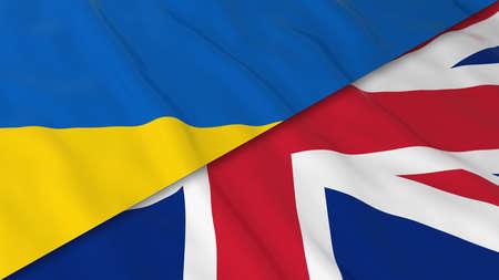 ukrainian flag: Flags of Ukraine and the United Kingdom - Split Ukrainian Flag and British Flag 3D Illustration