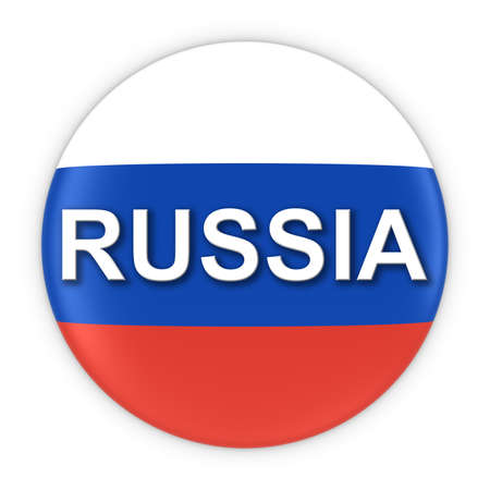 russian flag: Russian Flag Button with Russia Text 3D Illustration